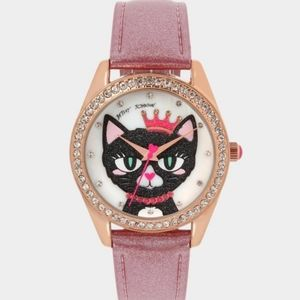 Betsey Johnson Pink Glitter and Crystals Watch
